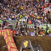 Competitors in action during the Monster Energy AMA Supercross series held at MetLife Stadium. 62,217 fans attended the event held for the first time at MetLife Stadium, New Jersey, USA. 26th April 2014. Photo Tim Clayton