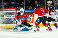 KELOWNA, BC - NOVEMBER 1: Roman Basran #30 of the Kelowna Rockets defends the net against the Prince George Cougars  at Prospera Place on November 1, 2019 in Kelowna, Canada. (Photo by Marissa Baecker/Shoot the Breeze)