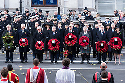 © Licensed to London News Pictures. 12/11/2017. London, UK. A Remembrance Day Ceremony at the Cenotaph war memorial in London, United Kingdom, on November 13, 2016 . Thousands of people honour the war dead by gathering at the iconic memorial to lay wreaths and observe two minutes silence. Photo credit: Ray Tang/LNP