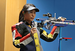 05.09.2015, Olympia Schiessanlage Hochbrueck, Muenchen, GER, ISSF World Cup 2015, Gewehr, Pistole, Damen, 10 Meter Luftgewehr, im Bild Binbin Zhang (CHN) konzentriert sich // during the women's 10M air rifle competition of the 2015 ISSF World Cup at the Olympia Schiessanlage Hochbrueck in Muenchen, Germany on 2015/09/05. EXPA Pictures © 2015, PhotoCredit: EXPA/ Eibner-Pressefoto/ Wuest<br /> <br /> *****ATTENTION - OUT of GER*****