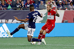 September 22, 2018 - Foxborough, MA, U.S. - FOXBOROUGH, MA - SEPTEMBER 22: Chicago Fire midfielder Aleksandar Katai (10) cuts around New England Revolution defender Michael Mancienne (28) during a match between the New England Revolution and the Chicago Fire on September 22, 2018, at Gillette Stadium in Foxborough, Massachusetts. The teams played to a 2-2 draw. (Photo by Fred Kfoury III/Icon Sportswire) (Credit Image: © Fred Kfoury Iii/Icon SMI via ZUMA Press)
