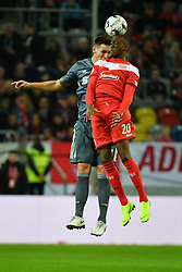 DUESSELDORF, Jan. 13, 2019  Niklas Suele (L) of Munich vies for a header with Dodi Lukebakio of Duesseldorf during the Telecom cup semifinals between Fortuna Duesseldorf and FC Bayern Munich in Duesseldorf, Germany, Jan. 13, 2019. Bayern Munich won 8-7 in penalty shootout. (Credit Image: © Ulrich Hufnagel/Xinhua via ZUMA Wire)