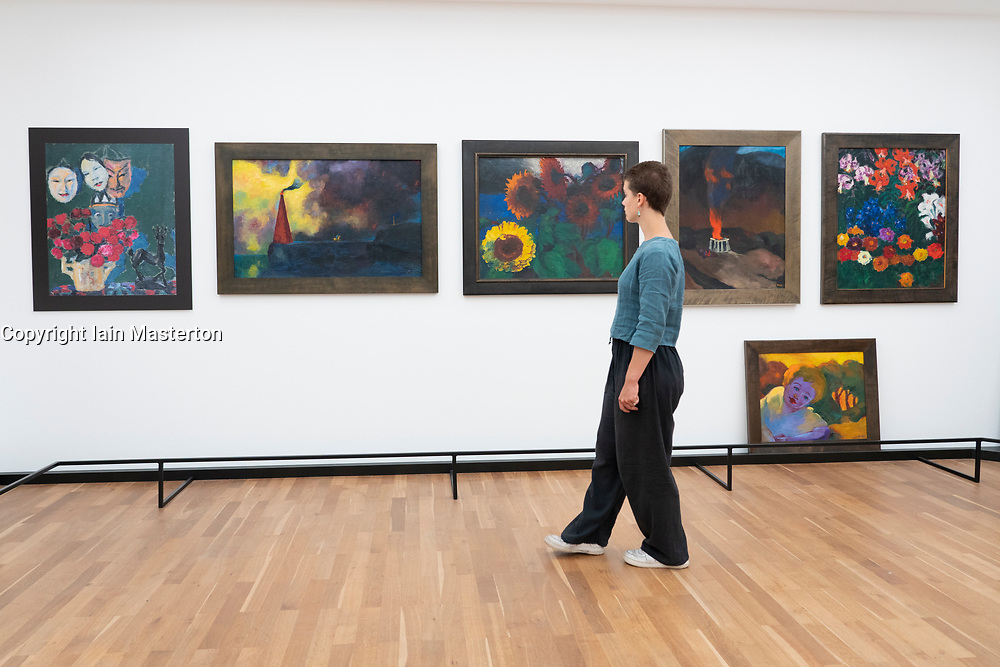 Paintings by Emile Nolde in reconstruction of his Painting Gallery at his Residence in Seebull,  on display at Hamburger Bahnhof art museum in Berlin .Editorial Use Only.