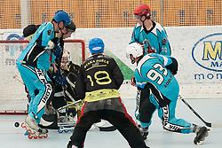 Gregor Koblar of Mufloni Tolmin scores a goal at quarter final match of IZS Masters 2011 inline hockey between DPH Itaksport.com Kranj and Mufloni Tolmin, on June 4, 2011 in Sportni park, Horjul, Slovenia. (Photo by Matic Klansek Velej / Sportida)