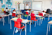 Mcc0095487 . Daily Telegraph<br /> <br /> DT News<br /> <br /> Reception & Year 1 key workers <br /> <br /> June 1st was the first day back for many children at Abbotsweld Primary Academy in Harlow Essex . Although the school had been open throughout lockdown for children of key workers . <br /> Attendance was projected to be at around 60 percent according to Headteacher Katherine Benson but this morning appeared to be considerably lower .<br /> <br /> Harlow 1 June 2020