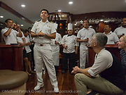The captain of the Galapagos Sky introduces the guests to the crew of the dive vessel in the Galapagos Islands, Ecuardor.