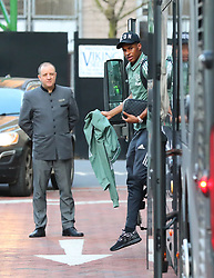 The Manchester United team arrive at The Lowry Hotel on Saturday evening to prepare for their home game against West Brom on Sunday afternoon. Seen: Marcus Rashford.