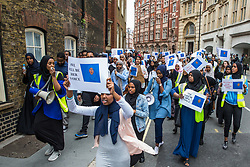 London, UK. 17 July, 2019. Members of the Somali community, NUS Black Students and supporters march from the Department for Education to Parliament Square to call for a full investigation into the death of Somali refugee girl Shukri Abdi, aged 12 from Bury, who died in the river Irwell on 27th June.
