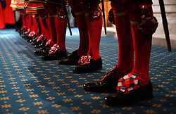 Yeoman of the Guard prepare for the ceremonial search ahead of the State Opening of Parliament by Queen Elizabeth II, in the House of Lords at the Palace of Westminster in London.