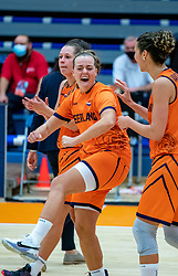 Dutch basketball team with Chatilla Van Grinsven, Fleur Kuijt celebrate after the match against Hungary during a European Championship qualifier.