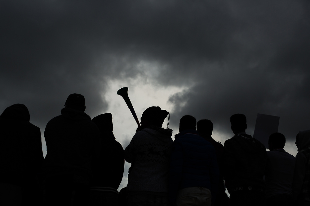 """Hundreds of African Asylum seekers, mostly Eritreans and Sudanese protest outside Israel's Supreme Court in Jerusalem, on January 26, 2017, during a demonstration against Israeli government's proposed deportation policy. Israel's Interior Ministry plans to force asylum seekers to choose one of three options: imprisonment in Israel for an unlimited time, returning to their home country, or leaving Israel for one of the """"third countries"""" (such as Uganda or Rwanda) knowing full well that they will have no legal status on their arrival and will be forced to leave, at great risk to their lives."""