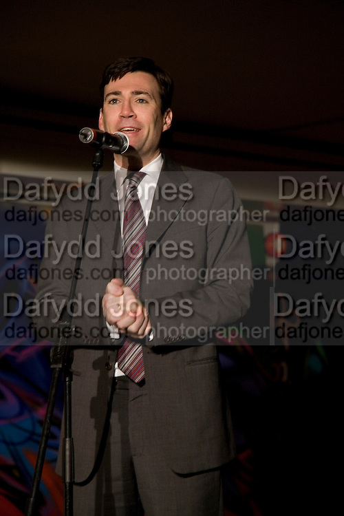 ANDY BURNHAM M.P., The launch of Your Game 2008. Swiss Ambassador's Residence car park. Bryanston Sq. London. W1. 28 February 2008.  *** Local Caption *** -DO NOT ARCHIVE-© Copyright Photograph by Dafydd Jones. 248 Clapham Rd. London SW9 0PZ. Tel 0207 820 0771. www.dafjones.com.