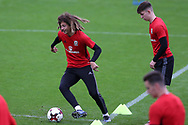 Ethan Ampadu of Wales, the 16 year old in action during  the Wales football team training at the Vale Resort in Hensol, near Cardiff , South Wales on Tuesday 29th August 2017.  the team are preparing for their FIFA World Cup qualifier home to Austria this weekend.  pic by Andrew Orchard, Andrew Orchard sports photography