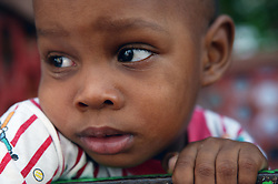 Portrait of black child in Havana nursery school,