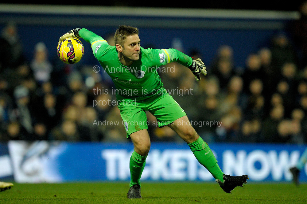 Goalkeeper Robert Green of QPR in action. Barclays Premier league match, Queens Park Rangers v Crystal Palace at Loftus Road in London on Sunday 28th December 2014.<br /> pic by John Patrick Fletcher, Andrew Orchard sports photography.
