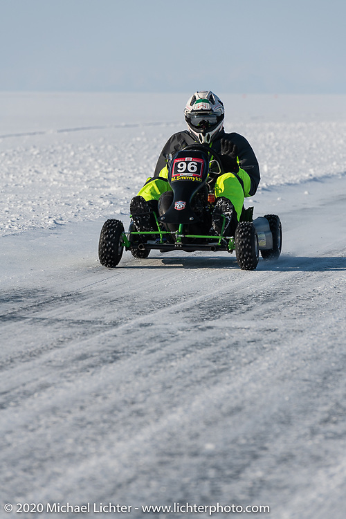 A go cart on the mile long track at the Baikal Mile Ice Speed Festival. Maksimiha, Siberia, Russia. Friday, February 28, 2020. Photography ©2020 Michael Lichter.