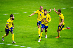 September 10, 2018 - Stockholm, SVERIGE - 180910 Isaac Kiese Thelin of Sweden celebrates with Jimmy Durmaz, Ludwig Augustinsson and Viktor Claesson after his 1-0 goal during the Nations League match between Sweden and Turkey on september 10, 2018 in Stockholm  (Credit Image: © Johanna Lundberg/Bildbyran via ZUMA Press)