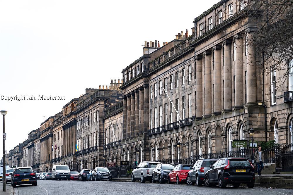 View of buildings on Royal Terrace in Edinburgh, Scotland, UK