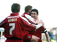 Photo: Chris Ratcliffe.<br />Colchester United v Southend United. Coca Cola League 1. 04/03/2006.<br />Kevin Maher (R) celebrates scoring their second goal.