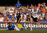 Photo: Ashley Pickering.<br /> Ipswich Town v Derby County. Coca Cola Championship. 14/04/2007.<br /> Danny Haynes of Ipswich (L) is fouled by Jay McEveley of Derby and is awarded a penalty