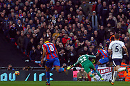 Paulo Gazzaniga , the goalkeeper of Tottenham Hotspur does enough to stop Wilfried Zaha of Crystal Palace (R) from scoring. Premier league match, Tottenham Hotspur v Crystal Palace at Wembley Stadium in London on Sunday 5th November 2017.<br /> pic by Steffan Bowen, Andrew Orchard sports photography.