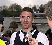 London, ENGLAND, 30.03.2002, University [Varsity] Boat Race, Oxford vs Cambridge over the Championship course - Putney to Mortlake.  DAn Perkins out side Quintin BC being interviewed after winning the 202 Boat Race with Oxford.  © Peter Spurrier/Intersport Images, email images@intersport-images.com. Tel +44 [0] 7973 819 551.