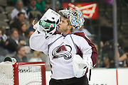 DALLAS, TX - NOVEMBER 1:  Semyon Varlamov #1 of the Colorado Avalanche has a drink from a Gatorade bottle during a break against the Dallas Stars on November 1, 2013 at the American Airlines Center in Dallas, Texas.  (Photo by Cooper Neill/Getty Images) *** Local Caption *** Semyon Varlamov