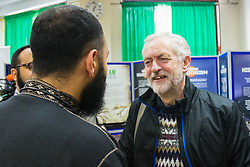 "Finsbury Park Mosque, London, February 7th 2016. Labour Leader and local MP Jeremy Corbyn chats with members of Finsbury Park Mosque as part of a Visit My Mosque initiative by the Muslim Council of Britain to show non-Muslims ""how Muslims connect to God, connect to communities and to neighbours around them"".<br /> . ///FOR LICENCING CONTACT: paul@pauldaveycreative.co.uk TEL:+44 (0) 7966 016 296 or +44 (0) 20 8969 6875. ©2015 Paul R Davey. All rights reserved."