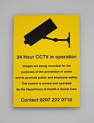 © Licensed to London News Pictures. 25/06/2021. London, UK. A sign informs visitors to the Health Department in Victoria that 24 hour CCTV is in operation. It is being reported that the health secretary has been in a relationship with an aide Gina Coladangelo after CCTV images emerged showing them in an embrace at his departmental office in central London. Photo credit: Peter Macdiarmid/LNP