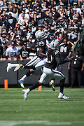 Oakland Raiders cornerback David Amerson (29) gets his hands on a pass intended for a Atlanta Falcons receiver  at Oakland Coliseum in Oakland, Calif., on September 18, 2016. (Stan Olszewski/Special to S.F. Examiner)