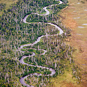 River curvilinear lines along the Cook Inlet near Anchorage Alaska.