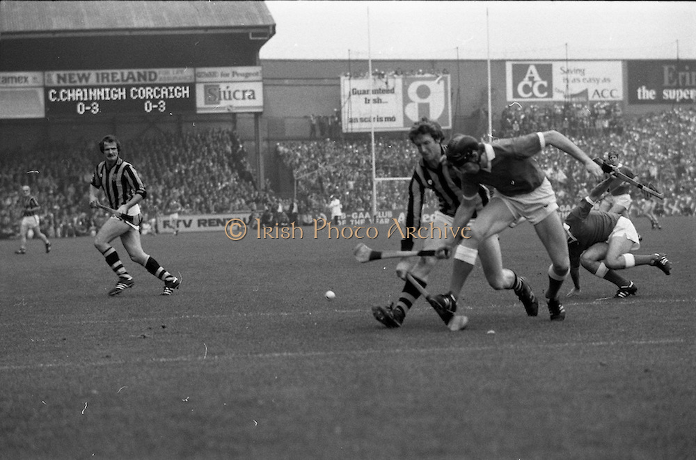 05/09/1982<br /> 09/05/1982<br /> 5 September 1982<br /> All-Ireland Hurling Final: Cork v Kilkenny at Croke Park, Dublin. <br /> Christy Heffernan, Kilkenny center-forward, joins the frey; but he is stopped by Martin O'Doherty (Cork).