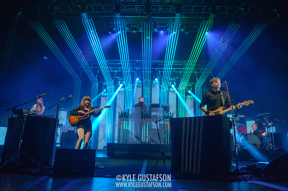 COLUMBIA, MD - June 18th, 2013 - Jenny Lewis, Jimmy Tamborello and Ben Gibbard of the Postal Service perform at Merriweather Post Pavilion in Columbia, MD on their 10th Anniversary Give Up tour. (Photo by Kyle Gustafson)