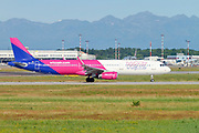 Wizz Air Hungary Airlines Ltd. Airbus A321-200 (HA-LTA) ready for takeoff at Linate Airport, Milan, Italy