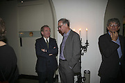 John Morton Morris and William Weaver, VIP opening of Bill Viola exhibition Love/Death: The Tristan project. Haunch of Venison, St Olave's College, Tooley St. London and Dinner afterwards at Banqueting House. Whitehall. 19 June 2006. ONE TIME USE ONLY - DO NOT ARCHIVE  © Copyright Photograph by Dafydd Jones 66 Stockwell Park Rd. London SW9 0DA Tel 020 7733 0108 www.dafjones.com
