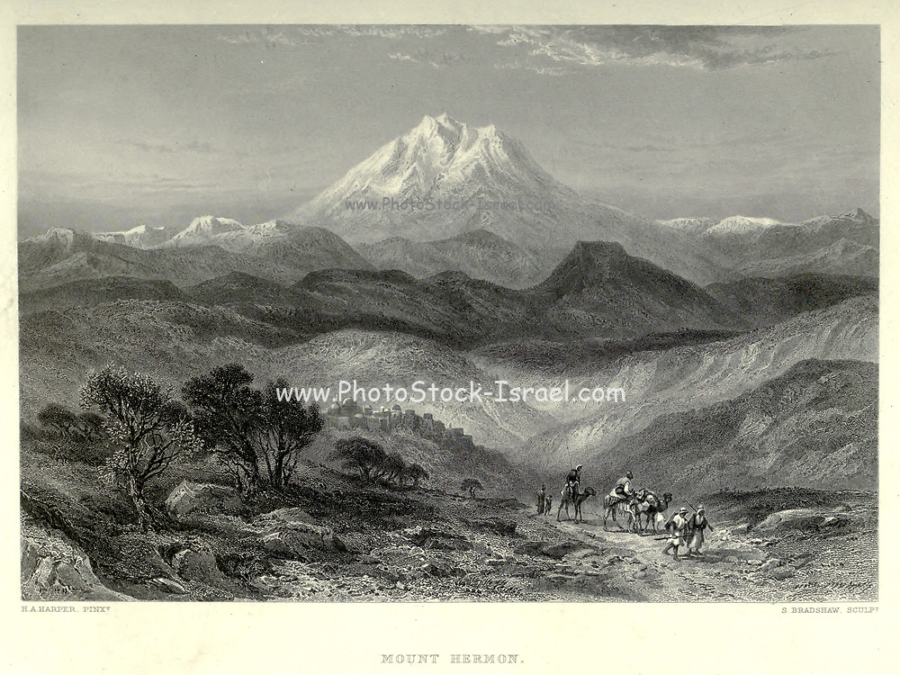 Engraving on steel of Mount Hermon from Picturesque Palestine, Sinai and Egypt by Wilson, Charles William, Sir, 1836-1905; Lane-Poole, Stanley, 1854-1931 Volume 2. Published in New York by D. Appleton in 1881-1884