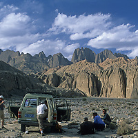 Mountaineers explore an approach to Shipton's Arch in the Kara Tagh Mountains near Kashgar, Xinjiang, China.