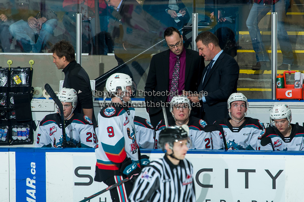 KELOWNA, BC - FEBRUARY 8: Kelowna Rockets' head coach Adam Foote and assistant coach Kris Mallette stand on the bench against the Portland Winterhawks at Prospera Place on February 8, 2020 in Kelowna, Canada. (Photo by Marissa Baecker/Shoot the Breeze)