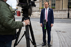 © Licensed to London News Pictures. 11/05/2021. London, UK. Secretary of State for Health and Social Care Matt Hancock speaks to the media outside the BBC. Photo credit: George Cracknell Wright/LNP