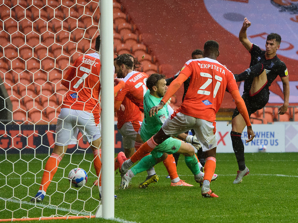 Lincoln City's Lewis Montsma scores his side's third goal<br /> <br /> Photographer Chris Vaughan/CameraSport<br /> <br /> The EFL Sky Bet League One - Blackpool v Lincoln City - Saturday 3rd October 2020 - Bloomfield Road - Blackpool<br /> <br /> World Copyright © 2020 CameraSport. All rights reserved. 43 Linden Ave. Countesthorpe. Leicester. England. LE8 5PG - Tel: +44 (0) 116 277 4147 - admin@camerasport.com - www.camerasport.com