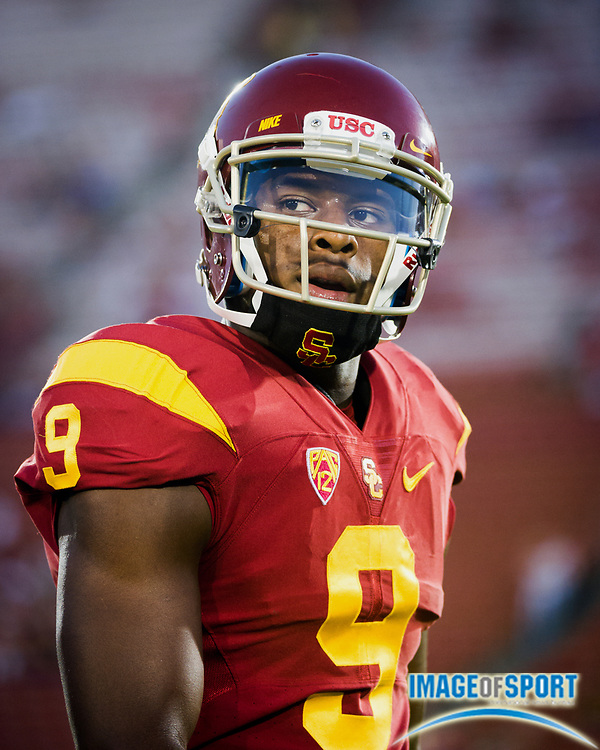 Sep 5, 2015; Los Angeles, CA, USA; Southern California Trojans wide receiver Juju Smith-Schuster (9) during warm ups before the game against the Arkansas State Red Wolves at Los Angeles Memorial Coliseum. Photo by Ed Ruvalcaba