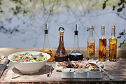 A lunch table is set at Abu Camp, a luxury safari camp in the Okavango Delta, Botswana