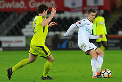 Matty Virtue of Notts County applies pressure on Tom Carroll of Swansea City - Mandatory by-line: Nizaam Jones/JMP - 06/02/2018 - FOOTBALL - Liberty Stadium - Swansea, Wales - Swansea City v Notts County - Emirates FA Cup fourth round proper