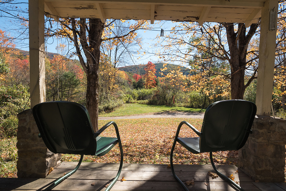View from the porch of a house in New York's Adirondack Mountains.