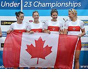 Trackai. LITHUANIA. ..CAN BW4-. Bow, Christine ROPER, Susanne GRAINGER, Cherly COPSON and Antje VON SEYDLITZ-KURZBACH, Gold Medalist women's four. ..2012 FISA U23 World Rowing Championships.     16:33:05  Saturday  14/07/2012 [Mandatory Credit: Peter Spurrier/Intersport Images]..Rowing. 2012. U23.