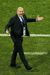 July 7, 2018 - Sochi, Russia - July 07, 2018, Sochi, FIFA World Cup 2018, the playoff round. 1/4 finals of the World Cup. Football match Russia - Croatia at the stadium Fisht. Stanislav Cherchesov. Head coach of the Russian national football team Stanislav Cherchesov. (Credit Image: © Russian Look via ZUMA Wire)