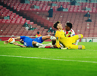 Football - 2020 /2021 Europa League - Group B - Arsenal vs Molde - Emirates Stadium<br /> <br /> <br /> Joe Willock of Arsenal gets in first to score the equalising goal past goalkeeper,Andreas Linde<br /> <br /> COLORSPORT/ANDREW COWIE