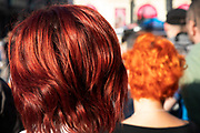 Dyed red hair and orange hair in London, United Kingdom.