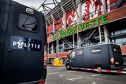 police in front of the stadium with video surveillance, video, videobus, van, ME, Mobiele Eenheid, agent, cop, cops, agenten during the Dutch Eredivisie match between FC Twente Enschede and Willem II Tilburg at the Grolsch Veste on March 17, 2018 in Enschede, The Netherlands