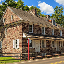 Washington Crossing, PA, USA - June 23, 2012: A colonial building at  Washington Crossing, Bucks County, PA.